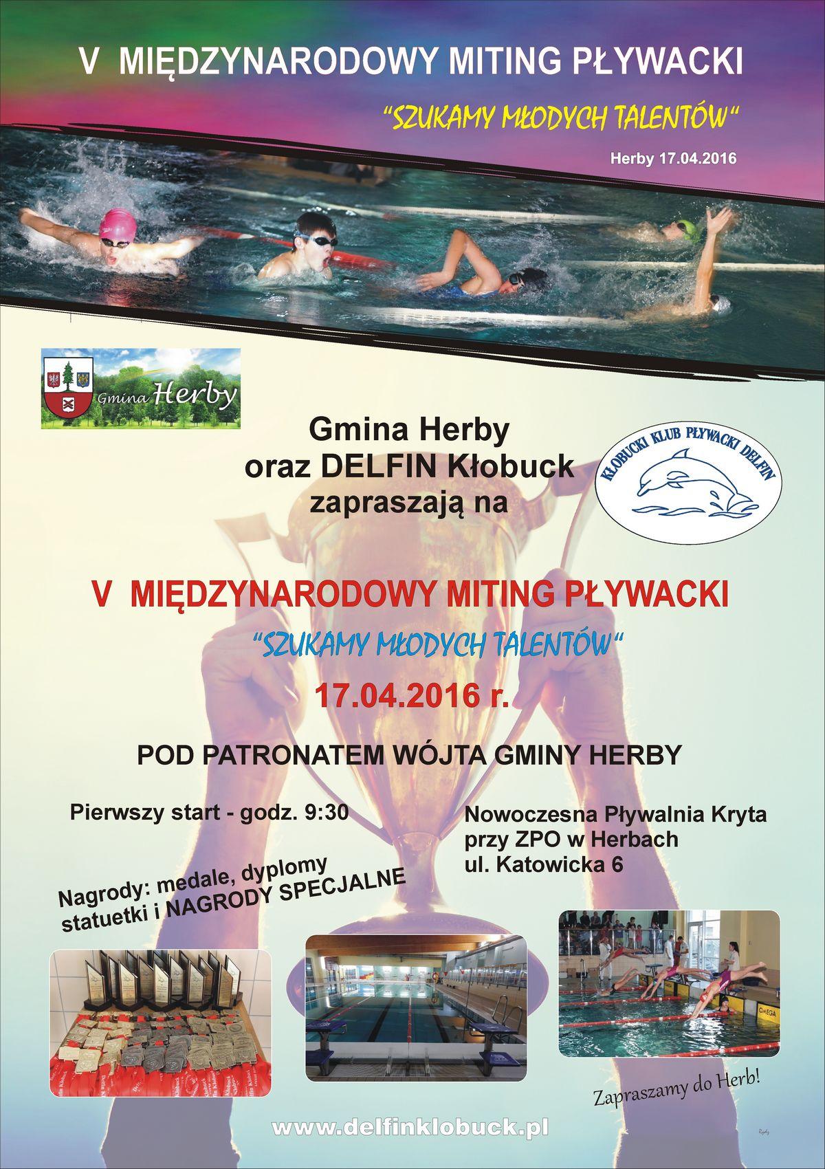 Plakat V Miting Pływacki w Herbach