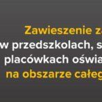 Zawieszenie zajęć dydaktyczno-wychowawczych wprzedszkolach, szkołach iplacówkach oświatowych