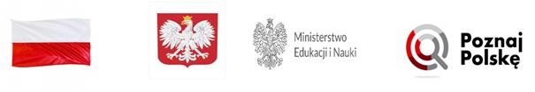 """Baner programu """"Poznaj Polskę"""", przedstawiający biało-czerwoną flagę, godło Polski, logo Ministerstwa Edukacji iNauki orazlogo programu """"Poznaj Polskę"""""""